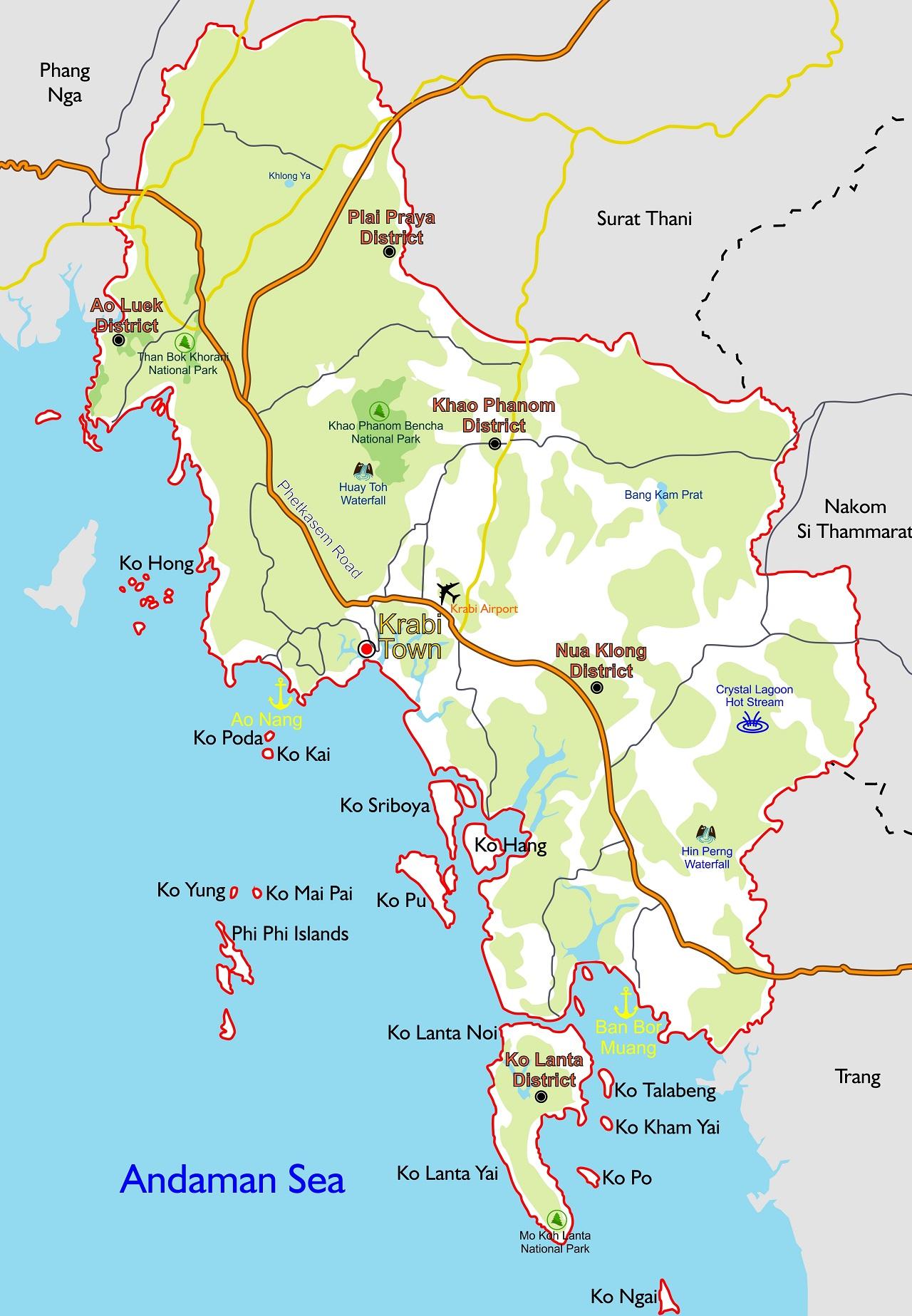 Map Of Krabi Map of Krabi